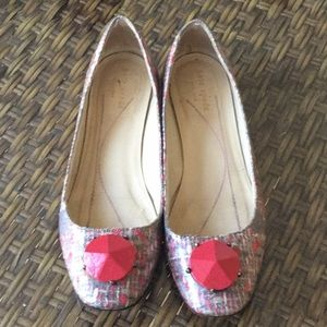 Kate Spade red gray tweed flats size 8 Italy